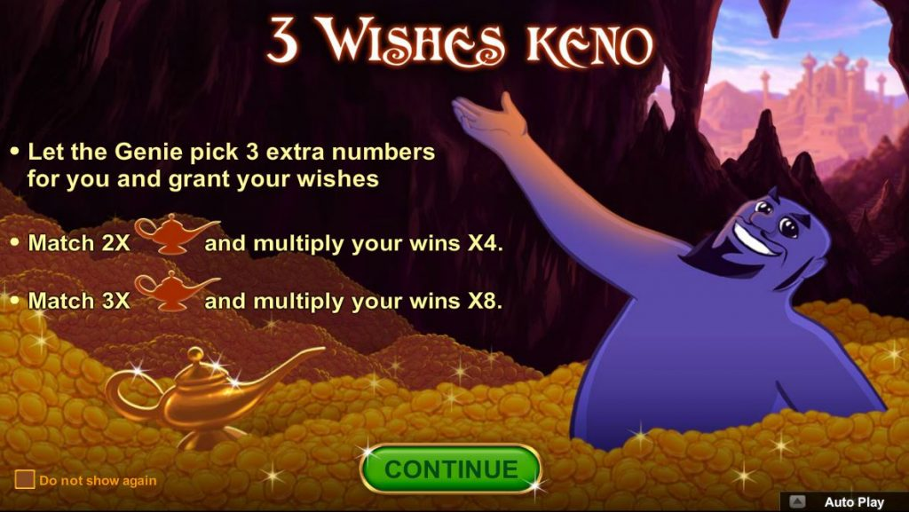 3 Wishes of Keno scratch card