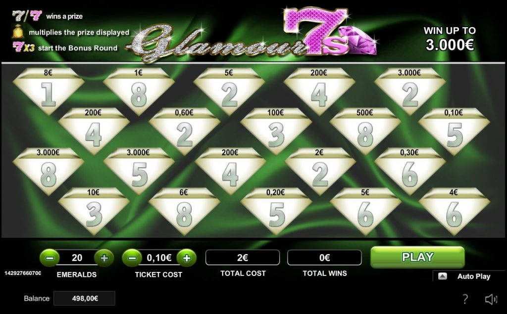 Glamour 7s scratch card